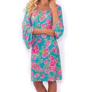 Simply Southern Off the Shoulder Rose Mini Dress M